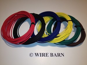 6 Pack of 12 Gage GXL Wire                               -                                                SIX (6) Colors, 25 Foot Each Color:                                                            Red, Black, Blue, Green, Yellow, Brown